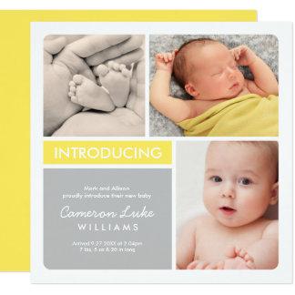 Multiple Photo Birth Announcement | Yellow & Gray