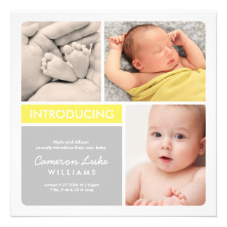 Multiple Photo Birth Announcement Yellow Gray