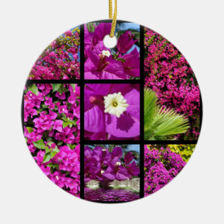 Multiple photos of bougainvillea ceramic ornament