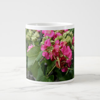 multiple pink flowers with bee neat insect flower extra large mug
