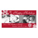 Multiple Snowflakes Christmas Photocard (Burgandy)