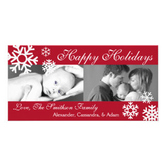 Multiple Snowflakes Christmas Photocard (Burgandy) Customized Photo Card
