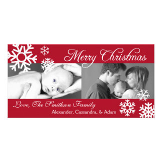 Multiple Snowflakes Christmas Photocard (Burgandy) Personalized Photo Card