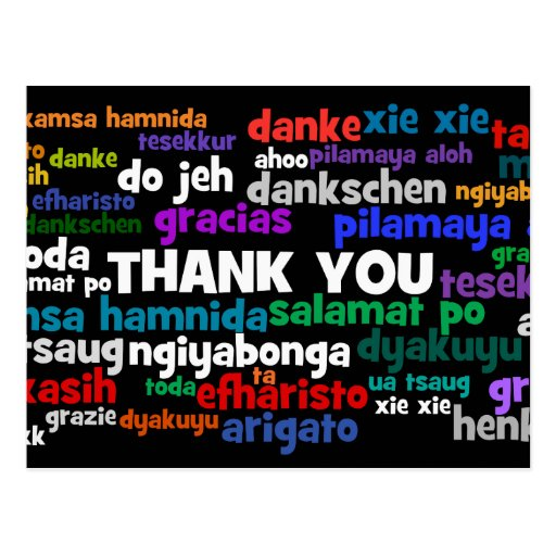 Multiple Ways to Say Thank You in Many Languages Post Cards