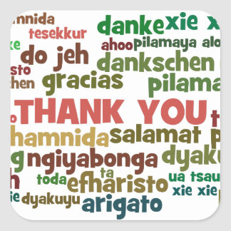 Multiple Ways to Say Thank You in Many Languages Square Sticker