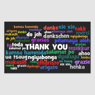 Multiple Ways to Say Thank You in Many Languages Rectangular Sticker