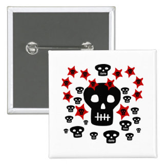 Multitude of Skulls With Weird Stars 2 Inch Square Button