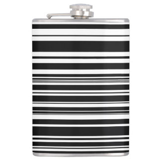 Multitudes of Uneven Black and White Stripes Hip Flask