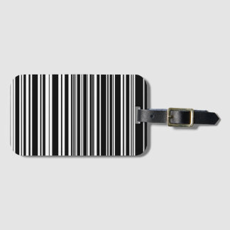 Multitudes of Uneven Black and White Stripes Luggage Tag