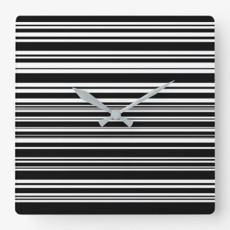Multitudes of Uneven Black and White Stripes Square Wall Clock