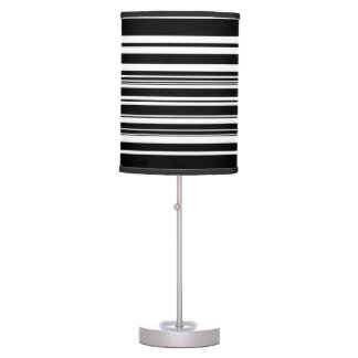 Multitudes of Uneven Black and White Stripes Table Lamp