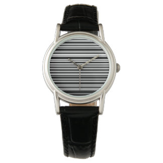 Multitudes of Uneven Black and White Stripes Watch