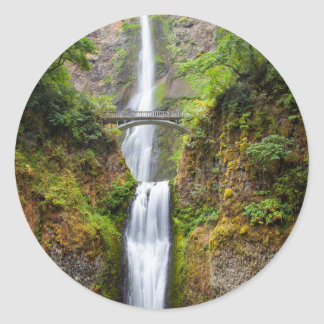 Multnomah Falls Along The Columbia River Gorge Classic Round Sticker