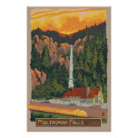 Multnomah Falls & Lodge, Oregon Travel Poster