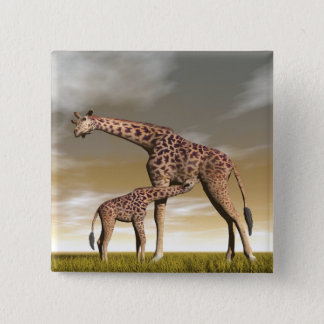 Mum and baby giraffe - 3D render 2 Inch Square Button