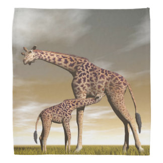 Mum and baby giraffe - 3D render Bandana