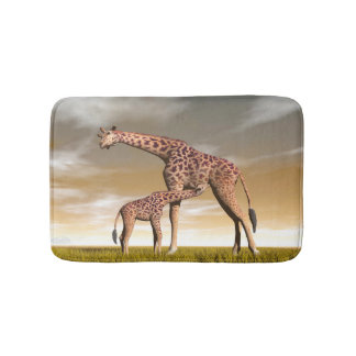Mum and baby giraffe - 3D render Bath Mat
