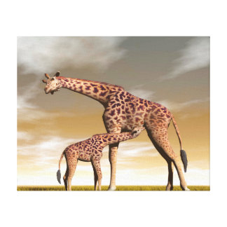 Mum and baby giraffe - 3D render Canvas Print