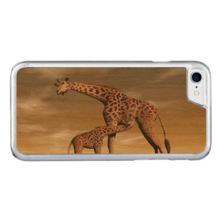 Mum and baby giraffe - 3D render Carved iPhone 8/7 Case