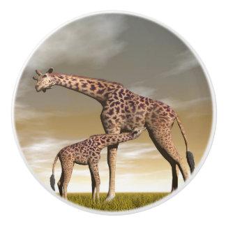 Mum and baby giraffe - 3D render Ceramic Knob