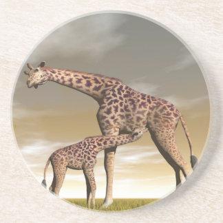 Mum and baby giraffe - 3D render Coaster