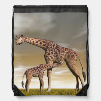 Mum and baby giraffe - 3D render Drawstring Bag