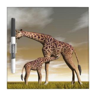 Mum and baby giraffe - 3D render Dry Erase Board