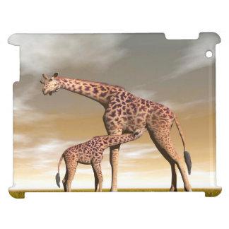 Mum and baby giraffe - 3D render iPad Cases