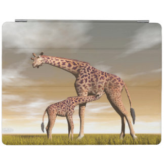 Mum and baby giraffe - 3D render iPad Cover