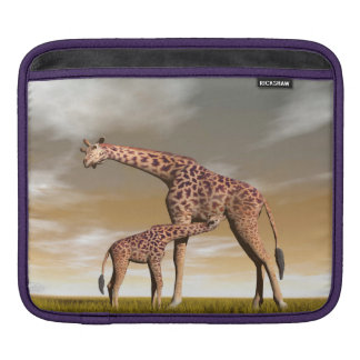 Mum and baby giraffe - 3D render iPad Sleeve