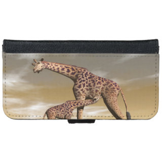 Mum and baby giraffe - 3D render iPhone 6 Wallet Case