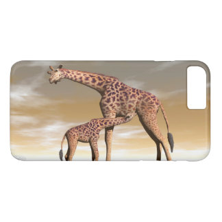 Mum and baby giraffe - 3D render iPhone 8 Plus/7 Plus Case