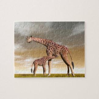 Mum and baby giraffe - 3D render Jigsaw Puzzle