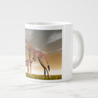 Mum and baby giraffe - 3D render Large Coffee Mug
