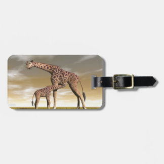 Mum and baby giraffe - 3D render Luggage Tag