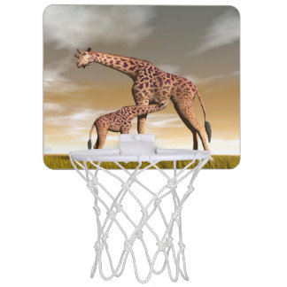 Mum and baby giraffe - 3D render Mini Basketball Hoop