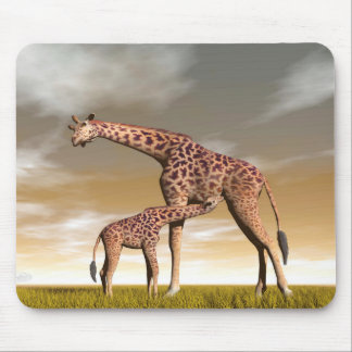 Mum and baby giraffe - 3D render Mouse Pad