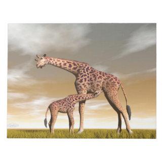 Mum and baby giraffe - 3D render Notepad