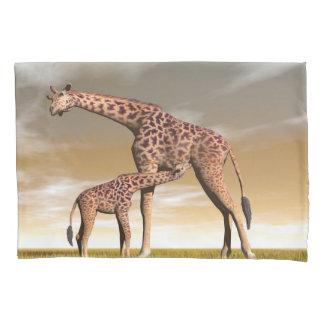 Mum and baby giraffe - 3D render Pillowcase