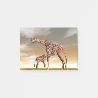 Mum and baby giraffe - 3D render Post-it Notes