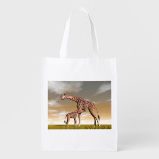 Mum and baby giraffe - 3D render Reusable Grocery Bag