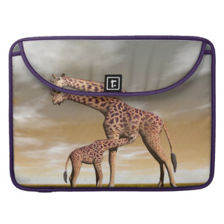 Mum and baby giraffe - 3D render Sleeve For MacBooks