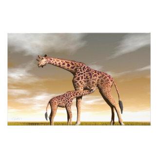 Mum and baby giraffe - 3D render Stationery