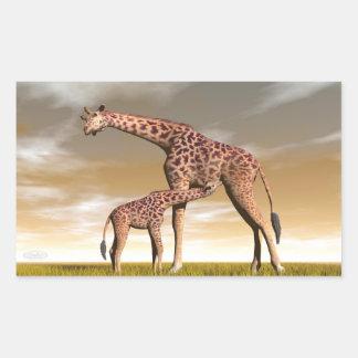 Mum and baby giraffe - 3D render Sticker