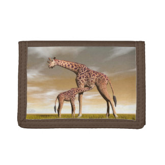 Mum and baby giraffe - 3D render Tri-fold Wallet