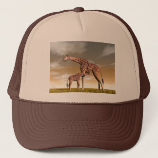 Mum and baby giraffe - 3D render Trucker Hat