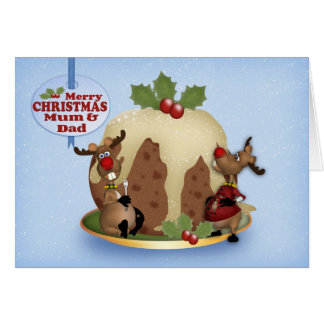 Mum And Dad Christmas Card With Pudding & Reindeer