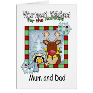 mum and dad warmest wishes reindeer and penguin card