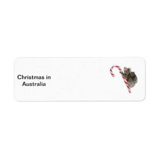 Mum and Joey Koala Candy Cane Christmas Labels