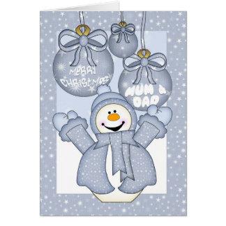 mum & dad, happy snowman christmas card - merry ch